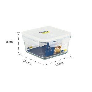 Super Lock กล่องถนอมอาหารแก้ว ทรงจัตุรัส รุ่น 6086 900 มล. BPA Free เข้าไมโครเวฟได้ เข้าเตาอบได้